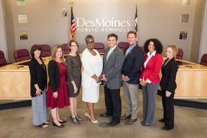 The Des Moines School Board. Front row (l to r): Superintendent Tom Ahart, Cindy Elsbernd (chair), Rob Barron (vice chair). Back row (l to r): Connie Boesen, Bill Howard, Pat Sweeney, Teree Caldwell-Johnson, Nathan Blake.