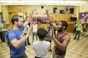 The dance troupe Pilobulus worked with students at Wright Elementary School.