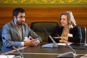 Actor/activist Kal Penn and the school district's visual arts curriculum coordinator Sarah Dougherty speak to the Iowa Senate Education Committee.