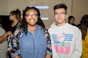 Julio Delgadillo and Elhondra Brazzle smile for the camera.
